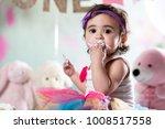 baby girl cake smash | Shutterstock . vector #1008517558