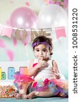 baby girl cake smash | Shutterstock . vector #1008531220