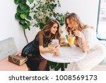 two long haired girls resting... | Shutterstock . vector #1008569173