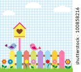 Stock vector background with birds and birdhouse 100858216