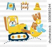 construction equipment cartoon... | Shutterstock .eps vector #1008585244