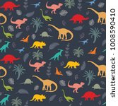 seamless pattern with dinosaur... | Shutterstock .eps vector #1008590410