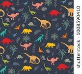 seamless pattern with dinosaur... | Shutterstock .eps vector #1008590410