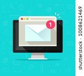 new email notice on computer... | Shutterstock .eps vector #1008621469