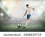 soccer player on a football... | Shutterstock . vector #1008629719