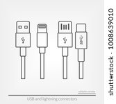 set of usb and usb type c... | Shutterstock .eps vector #1008639010