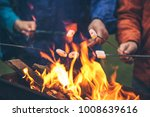 hands of friends roasting... | Shutterstock . vector #1008639616