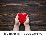 children's hands giving red...   Shutterstock . vector #1008639640