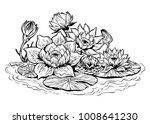 a beautiful lotus lily water... | Shutterstock .eps vector #1008641230