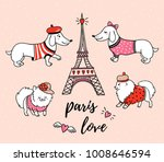 french style dogs and eiffel... | Shutterstock .eps vector #1008646594