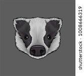 head of badger  portrait of... | Shutterstock .eps vector #1008666319