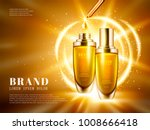 cosmetic product ads  golden... | Shutterstock .eps vector #1008666418