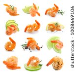 set of fried shrimps on white... | Shutterstock . vector #1008669106