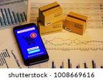 smartphone runs an online... | Shutterstock . vector #1008669616