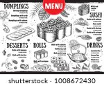 menu with ink hand drawn sushi... | Shutterstock .eps vector #1008672430