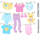 baby girl and baby boy clothes... | Shutterstock .eps vector #1008672484