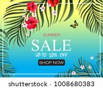 sale banner with palm leaves... | Shutterstock .eps vector #1008680383