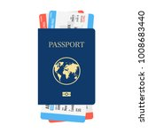 international passport with... | Shutterstock .eps vector #1008683440