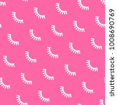 seamless pattern with eyelashes.... | Shutterstock .eps vector #1008690769
