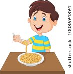 little boy eating spaghetti | Shutterstock .eps vector #1008694894