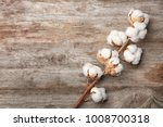 cotton flowers on wooden... | Shutterstock . vector #1008700318