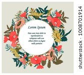 hand drawn floral card with... | Shutterstock .eps vector #1008701914