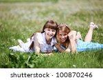 two girls spending time... | Shutterstock . vector #100870246