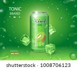 kiwi juice in an aluminium can. ... | Shutterstock .eps vector #1008706123