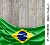 brazil  flag of silk and wood... | Shutterstock . vector #1008706636
