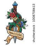 vector tattoo dagger with green ... | Shutterstock .eps vector #1008708613