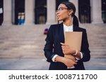 pensive african american female ... | Shutterstock . vector #1008711700