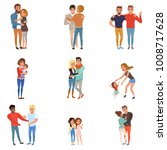 set with hugging people.... | Shutterstock .eps vector #1008717628
