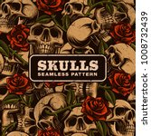 skull with roses seamless... | Shutterstock .eps vector #1008732439