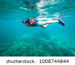 beautiful women are diving... | Shutterstock . vector #1008744844