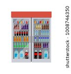 fridge full of bottles of water ... | Shutterstock .eps vector #1008746350