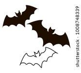 halloween black bat icon set.... | Shutterstock .eps vector #1008748339