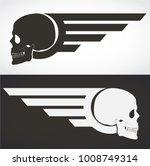 black and white winged skull...   Shutterstock .eps vector #1008749314