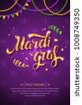 mardi gras logo with golden... | Shutterstock .eps vector #1008749350
