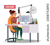 radio dj woman vector.... | Shutterstock .eps vector #1008752893
