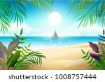 paradise tropical beach... | Shutterstock .eps vector #1008757444