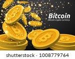 golden bitcoin symbols... | Shutterstock .eps vector #1008779764