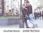 cute young couple kissing... | Shutterstock . vector #1008782563