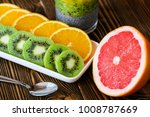 chia seeds pudding with kiwi ... | Shutterstock . vector #1008787669