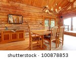Log Cabin Dining Room Interior...