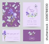 save the date card with iris... | Shutterstock .eps vector #1008788530