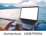 mockup image of a woman using... | Shutterstock . vector #1008790906