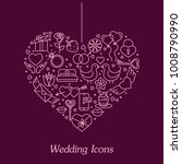 valentine's day flat line icons ... | Shutterstock .eps vector #1008790990