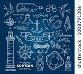 printsailor vector set. sea and ... | Shutterstock .eps vector #1008791206