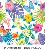 Stock vector tropical seamless pattern with exotic flowers palm leaves and butterflies vector illustration 1008792100