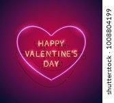 happy valentines day heart neon ...   Shutterstock .eps vector #1008804199